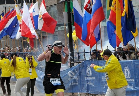 The first Boston Marathon blast (courtesy: washingtonpost.com)
